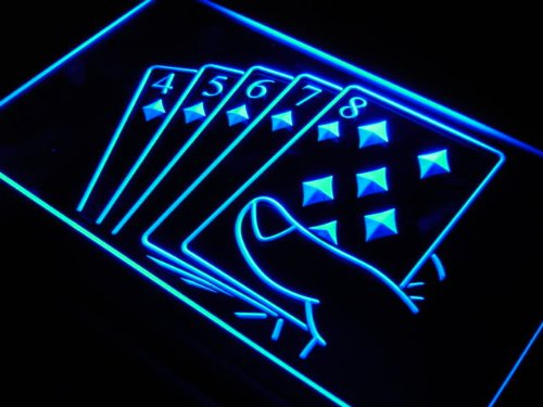 Enseigne Lumineuse j428-b Straight Flush Poker Casino Game Neon Light Sign