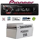 Peugeot 206 - Autoradio Radio Pioneer MVH-S100UI - | MP3 | USB | Android | iPhone Einbauzubehör - Einbauset