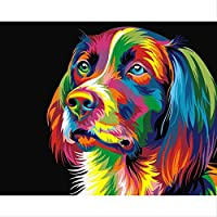 BPAINTF Colorful Dog Diy Painting by Numbers Kits Coloring Draw by Number Acrylic Hand Painted Oil Canvas Painting for Modern Home Decor 60X75cm DIY FRAMED