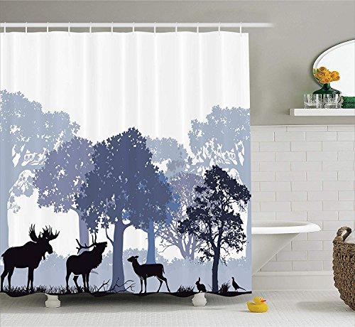 gwegvhvg Elch Duschvorhang Set grau Wald Design abstrakte Wälder nordamerikanische Wildtiere Hirsch Hase Elch Bäume Stoff Badezimmer Dekor mitlila blau