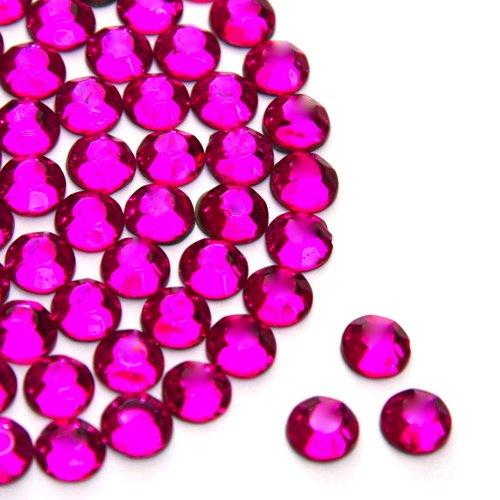 Me Pink, Größe: 2 mm, Eisen auf Hotfix 2028 Strassstein, Flache Rückseite, Strasssteine, (2028 Modeschmuck)