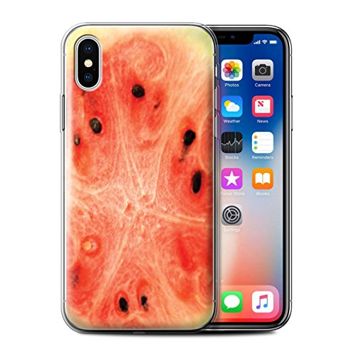 Stuff4 Gel TPU Hülle / Case für Apple iPhone X/10 / Orange Muster / Obst Kollektion Wassermelone
