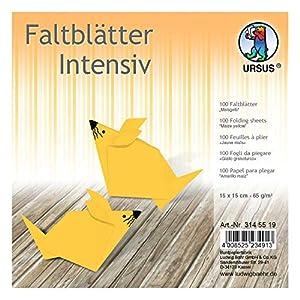 Ursus 3145519 - Hojas Plegables (100 Unidades, 65 g/m², 15 x 15 cm, para Artistas de Origami, teñidas), Color Amarillo