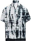LA LEELA männer Hawaiihemd Kurzarm Button Down Kragen Fronttasche Beach Strand Hemd Manner Urlaub Casual Herren Aloha schwarz_19 XS Viskose TD182