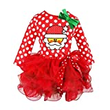 Xinan Mädchen Kleider Kleinkind Baby Girls Princess Weihnachten Pageant Tutu Dresses Outfit Party Kleid Outfits (Rot, 90)