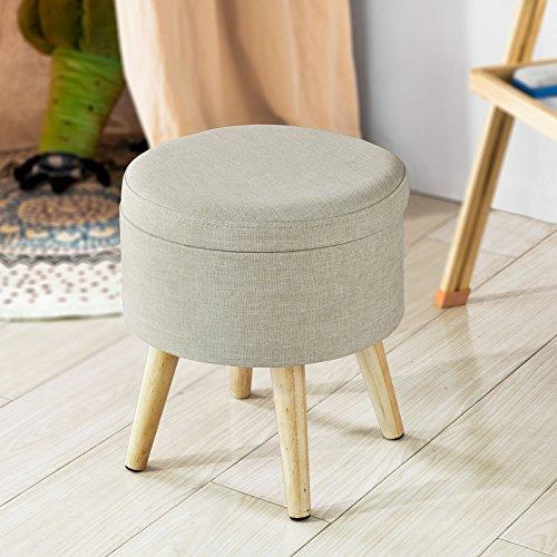 SoBuy®Silla para niños,silla con almacenaje,Taburete,puff caja,banco,puff,beige,φ32 x 37 cm,FSS68-MI,ES