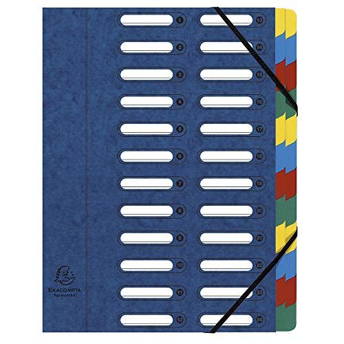 Exacompta 55242E Ordnungsmappe (Harmonika, DIN A4, 24 Fächer, Manila-Karton, Gummizug, Indexfenster) 1 Stück blau