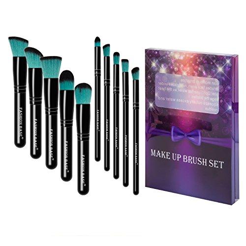 Fashion Base® Lot de pinceaux professionnels et de qualité pour le maquillage style kabuki 10 pinceaux synthétiques, poudre, contour des yeux, highlighter/enlumineur, liquide, fond de teint, correcteur, fard à paupières et brosse à sourcils Poils noir et vert