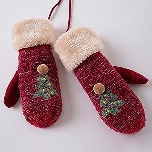 Unbekannt XIAOYAN Handschuhe Frauen Stricken Handgelenk Länge Fingerspitzen Casual Winter Handschuhe halten warme Mode Strick Feste Winter für 18-49 Jahre alt, Bequem