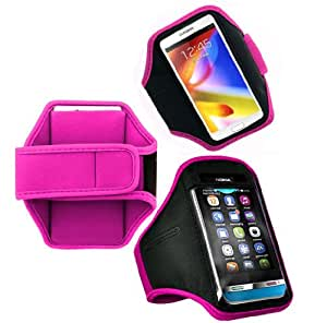 Wayzon Hot Pink Adjustable Sports GYM Jogging Running Riding Bike Cycling Dancing Armband Case Cover Skin Pouch Holster For Blackberry Bold Touch 9900