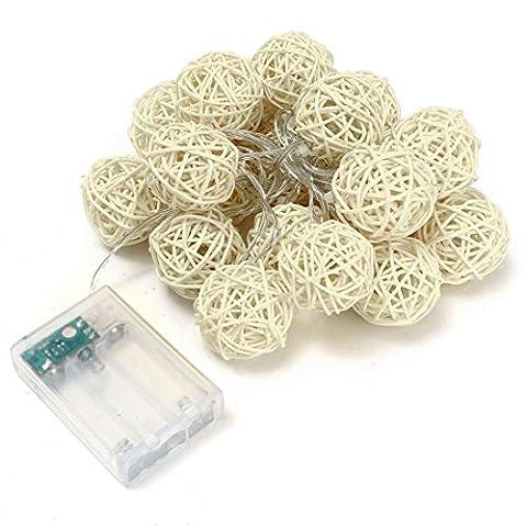 Switchali 9.8 FT/ 3M 20 LED rotin boule de feux de fées pour fête de mariage de Noël (Blanc)