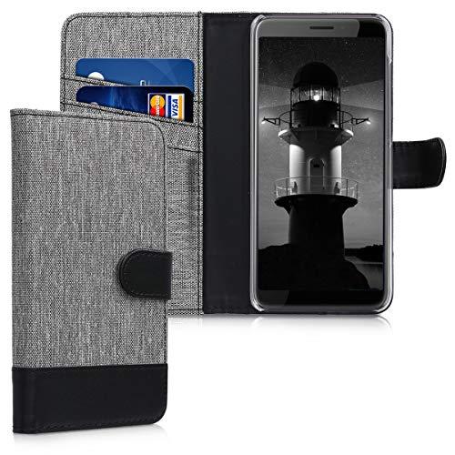 kwmobile HTC Desire 12 Hülle - Kunstleder Wallet Case für HTC Desire 12 mit Kartenfächern & Stand - Grau Schwarz