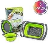 Kool Kitchen Pros 3er Sieb Set – Faltbare Siebe – BPA-freies Silikonsieb – Küchensieb als Nudelsieb, Abtropfsieb, Gebmüsesieb und Spülbeckensieb – Spülmaschinenfeste Seiher