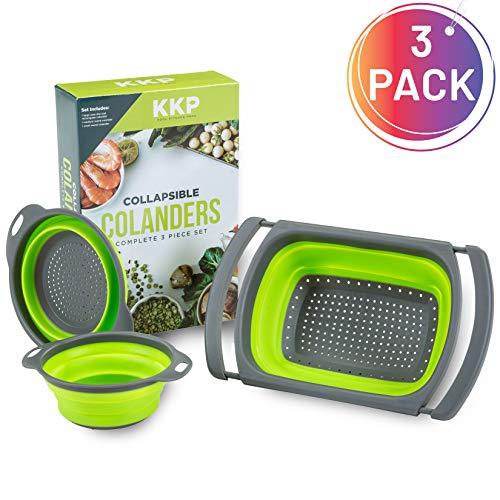 Kool Kitchen Pros Juego de 3 Coladores - Coladores Plegables - Colador Silicona sin BPA - Escurridor...