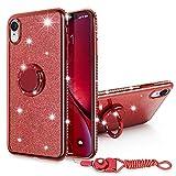 """SQMCase iPhone XR Coque,Étui Souple en TPU Diamond avec Rotation de 360 degrés avec poignée en métal pour Anneau de Maintien du Pied + lanière pour Le Cou pour Apple iPhone XR 6.1"""" (Brillant Rouge)"""
