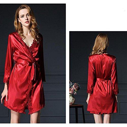 HXQ Damen Bademäntel Sommer Imitation Seide Kleider Spitze Schlafen Röcke Sling Pyjamas Zweiteilige Nachtwäsche , navy wine red