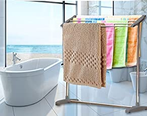 Hk Villa Stainless Steel Portable Floor Clothes Drying Rack Dryer Hanger Nappies, Undergarments, Towels Rack, Mobile Towel Rack/Mobile Room Save Space Towel Cloth Rack Holder, Towel Stands, Cloth Rack Holder