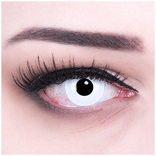 bige weisse weiß Crazy Fun weiß White Out Kontaktlinsen MIT STÄRKE -6,00 + 4 Blutkapseln und Behälter von Funnylens. Perfekt zu Halloween, Karneval, Fasching oder Fasnacht. (Billig-zombie-kontaktlinsen)