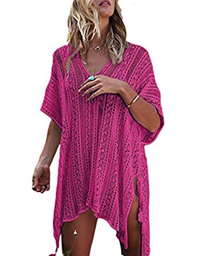 Women 's Casual Hollow Out Beach Bordar Punto Irregular Cover Up Tunic Rose One Size