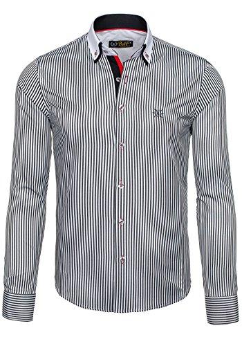 BOLF - Chemise casual – manches longues – BOLF 5758 - Homme Blanc-Noir