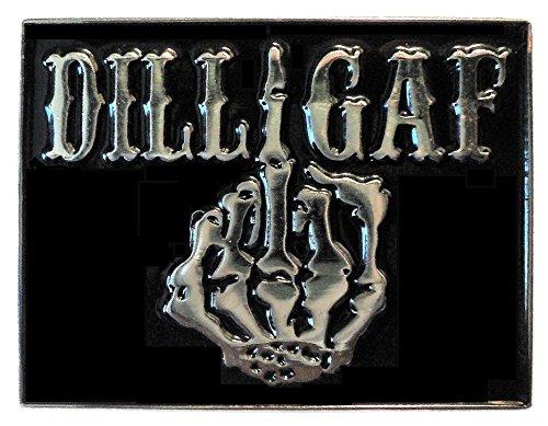 DILLIGAF Do I Look Like I Give A F*** Skeleton Middle Finger Biker Rocker Metal Enamel Badge