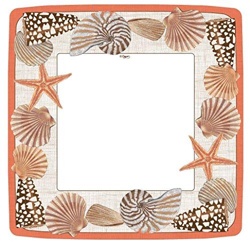 Entertaining with Caspari Seaside Square Dinner Plates (8 Pack), Orange