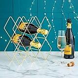 VonShef Weinregal/Halter/Aufbewahrung/Flaschenständer für 8 Weinflaschen - Metall gebürstetes Gold & geometrisches Design Flaschenregal Weinständer