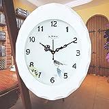 Y-Hui Die hölzerne Wanduhr Wand Tabelle übergroßen Wohnzimmer Art Deco Mute Quarzuhr, 14 Zoll ,026 Weiß
