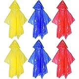 com-four® 6X Einweg Kinder-Regenponcho mit Kapuze, Notfall-Poncho für Kinder in verschiedenen Farben, Regenschutz zu jeder Gelegenheit (Kinder - 06 Stück bunt)