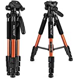 "Mactrem Camera Tripod Pt55 55"" Lightweight Compact Travel Tripod With Pan Head And Carry Case For Digital SLR Canon Nikon Sony Olympus Samsung Dv Video Projector (Orange)"