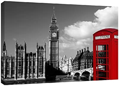 MOOL Large 32 x 22-inch Phone Box Black White London Canvas Wall Art Print Hand Stretched on a Wooden Frame with Giclee Waterproof Varnish Finish Ready to Hang, Red