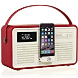 VQ Retro Mk II DAB/DAB+ Digital- und FM-Radio mit Bluetooth, Apple Lightning Dock und Weckfunktion - Rot