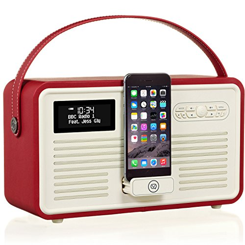 VQ Retro Mk II DAB/DAB+ Digital- und FM-Radio mit Bluetooth, Lightning Dock und Weckfunktion - Rot - Cd-player Iphone-dock Mit