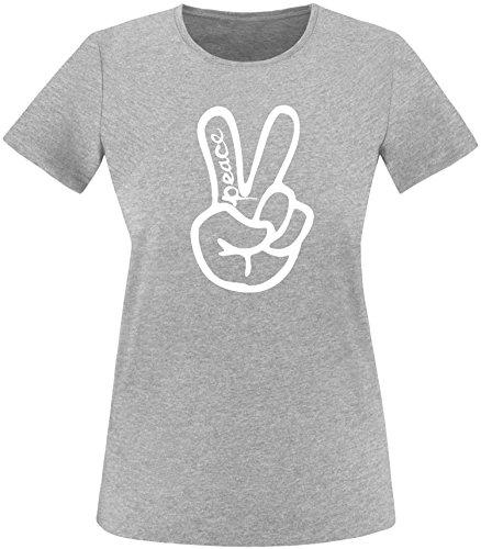 ezyshirt Peace Hand Damen Rundhals T-Shirt Grau/Weiss