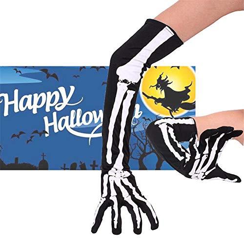 Halloween Skeleton Handschuhe Schwarz Weiß Skelett Handschuhe Kinder Skelett Handschuhe für Halloween, Halloween Tanzen Party lange Handschuhe