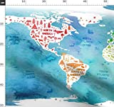 Welt, Landkarte, Europa, Amerika, Asien Stoffe -