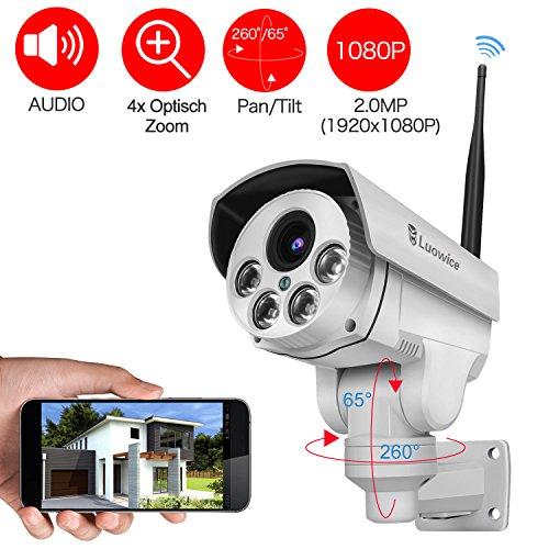 Ptz-ip-security-kamera (Luowice drahtlose PTZ IP Kamera WiFi Überwachungskamera 1080p optischem 4-fach Zoom HD-Auflösung 100ft IR-Nachtsichtreichweite ONVIF 2.0 für Indoor und Outdoorverwendung vorinstallierte 32GB SD-Karte)