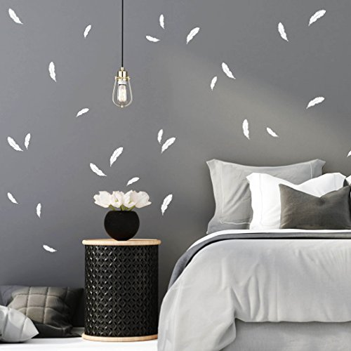 """Wanddeko \""""Federn in der Farbe weiß\"""" (30teilig) Wandverzierung für Ihr Schlafzimmer Feder 30 Stück im Set Wandsticker von Wandtattoo-Loft® / Wandaufkleber"""