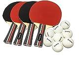 Pro ping pong paddle set–(Juego de 4palas de goma y 8bolas) raqueta de tenis de mesa y pelotas de ping pong para adultos, niños y entretenimiento familiar, o práctica profesional, incluye funda de soporte de viaje
