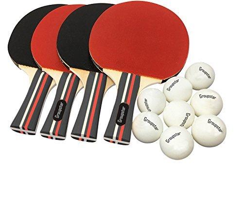 Pro Ping Pong Paddel-Set–(Set von 4Gummi Paddel & 8Kugeln) Tisch Tennisschläger & Ping Pong Bälle für Erwachsene, Kinder und Familie Entertainment, oder Professional Praxis, Reisen Halter Fall enthalten