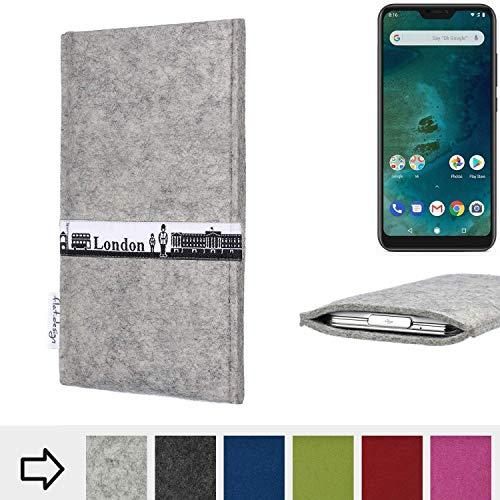 flat.design für Xiaomi Mi A2 Lite Schutz Hülle Handy Case Skyline mit Webband London - Maßanfertigung der Schutztasche Handy-Tasche aus 100% Wollfilz (hellgrau) für Xiaomi Mi A2 Lite