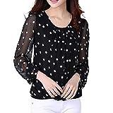 Culater® Mujeres gasa manga larga Pullover Camiseta Tops Blusas (XXL, Blanco)