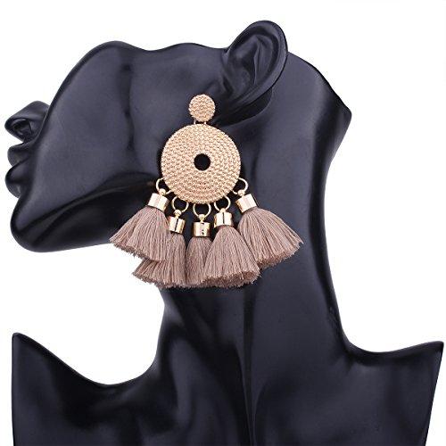 RENYZ.ZKHN Fashion Stud Fashion Tassel Ear Nail Bohemia Style Exaggerated Polychromatic Handmade Tassel Ear Nail,Light Brown (Stud Münze)