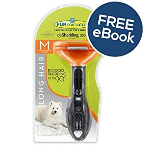 Furminator De Shedding Tool for Medium Dogs - Long Hair - INCLUDES EXCLUSIVE FLEA & TICK E BOOK 8