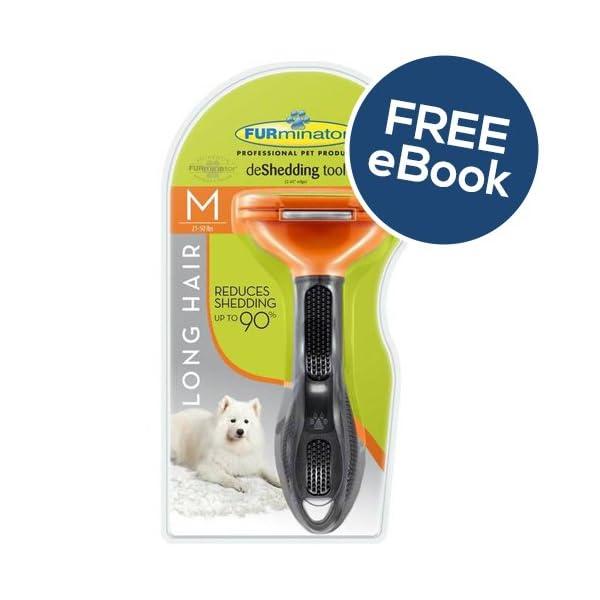 Furminator De Shedding Tool for Medium Dogs - Long Hair - INCLUDES EXCLUSIVE FLEA & TICK E BOOK 1