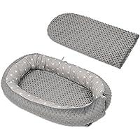 Velinda Riduttore,nido,culla,culletta,bozzolo per letto,culla,multifunzionale,neonato (motivo: stelline bianche sfondo grigio - grigio)