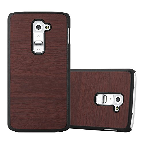 Cadorabo Hülle für LG G2 - Hülle in Woody Kaffee – Hardcase Handyhülle in Vintage Holz Optik - Schutzhülle Bumper Back Case Cover