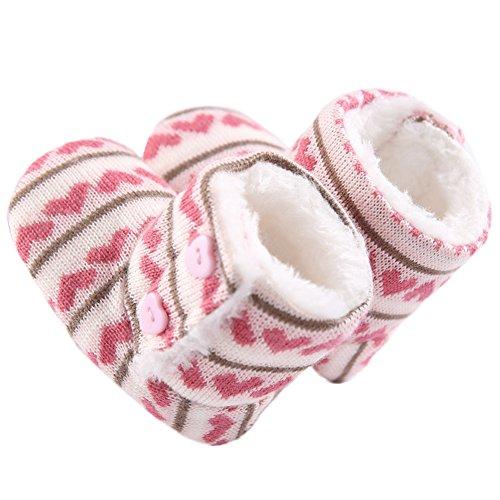 WAYLONGPLUS Baby-Mädchen Baumwolle weiche Sohle Winter warme Schuhe Stiefel Rot