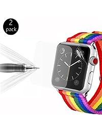 [2 Unidades]Protector de Pantalla para Apple Watch, Bandmax 42mm Serie 3 / 2 / 1 Ultra HD Cobertura Máxima de Suave TPU Superior[Auto-curativa][Anti-burbujas](42mm)