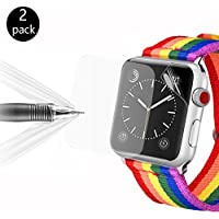 Apple Watch Screen Protector, Bandmax 2-Pack Premiun Anti-Bubble Ultra HD Full Coverage Screen Protective Hydrated Film with TPU Case for iWatch Series 1/2/3 42MM (Clear)